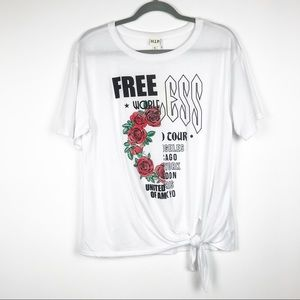 H.I.P White Front Tie Knot Graphic Tee Size M
